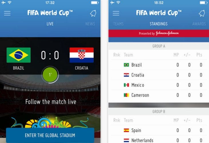Brazil World Soccer Finals iOS app with group results