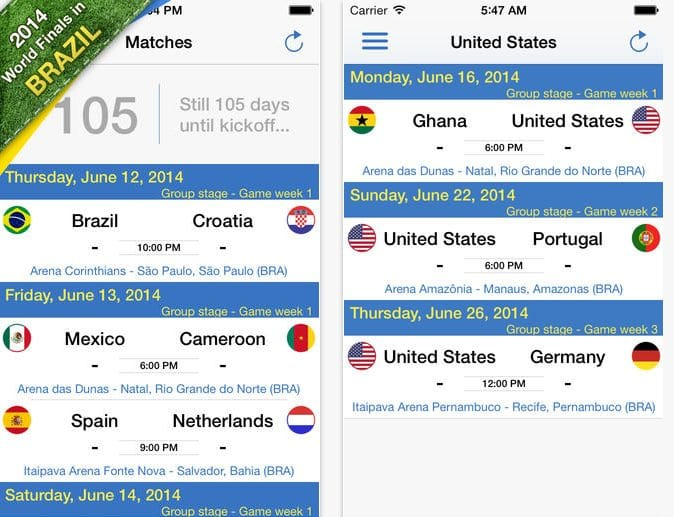 Brazil World Soccer Finals iOS app