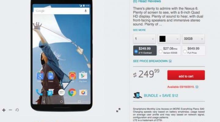 Buy the Verizon Nexus 6 with incentive