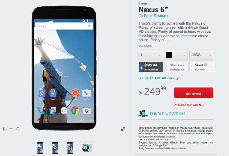 Buy the Verizon Nexus 6 with incentive