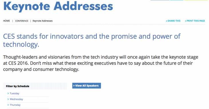CES 2016 keynote speaches for tomorrow