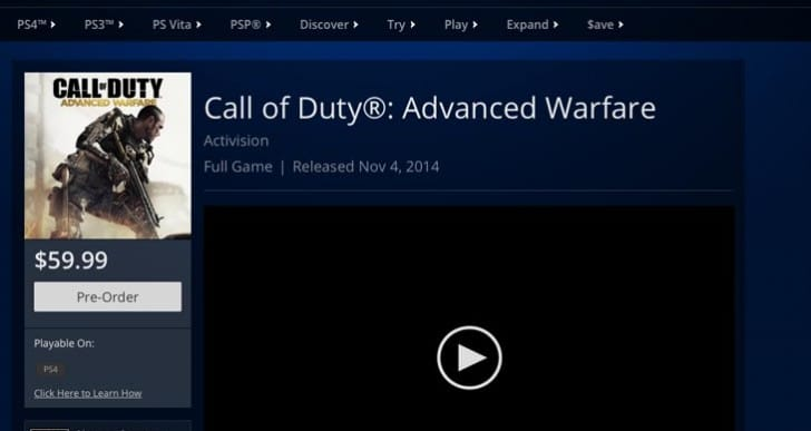 COD: Advanced Warfare PS4 Midnight launch price, or pre-load
