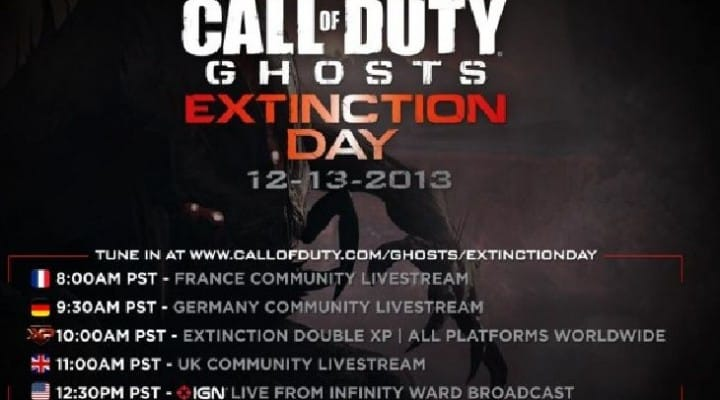 COD Ghosts extinction day features double XP & goodies