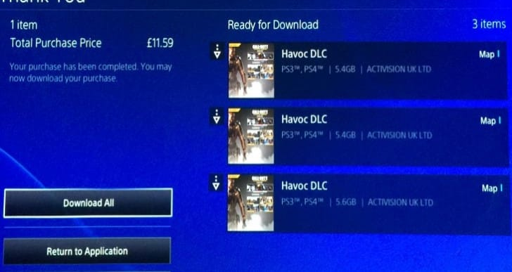 COD Havoc DLC 3 download file sizes confuse