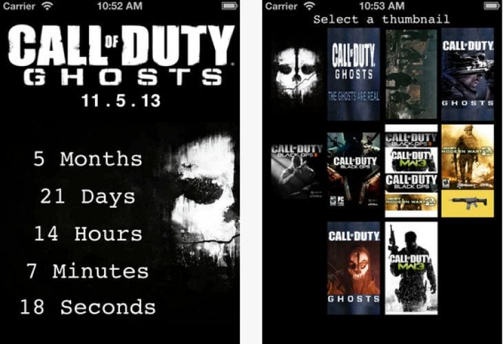 Call of Duty Ghosts iOS countdown app