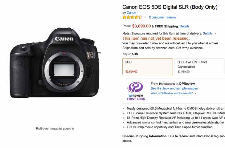 Canon EOS 5DS, R release date