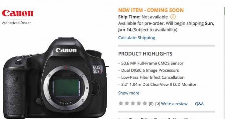 Canon EOS 5DS, R shipping from B&H, Amazon in June