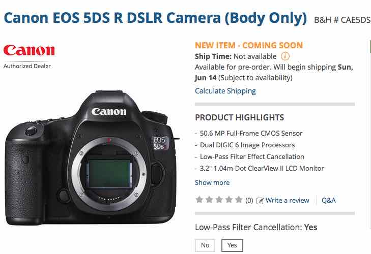Canon EOS 5DS, R shipping