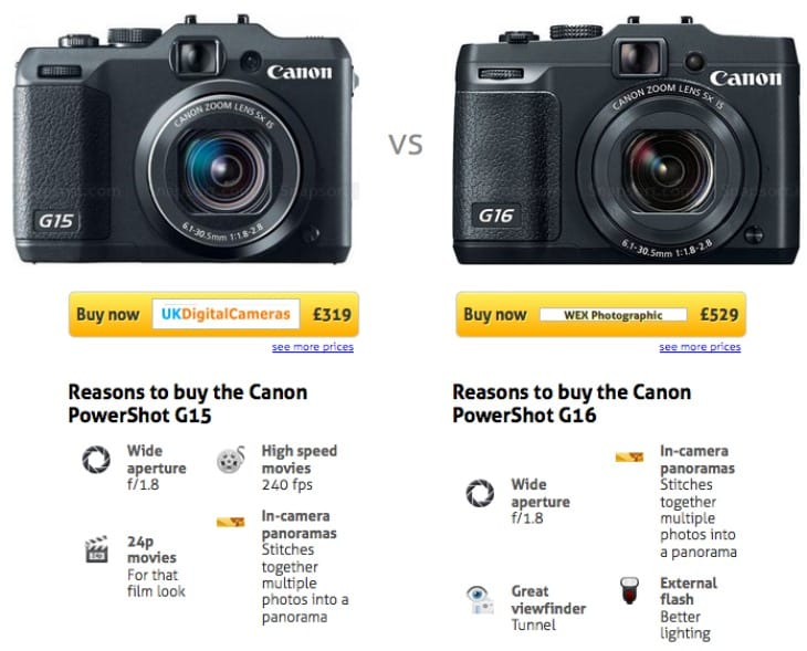 Canon PowerShot G16 vs. G15 - Reasons to buy