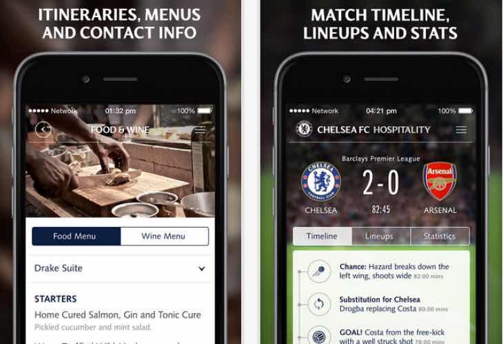 Chelsea FC Hospitality app update