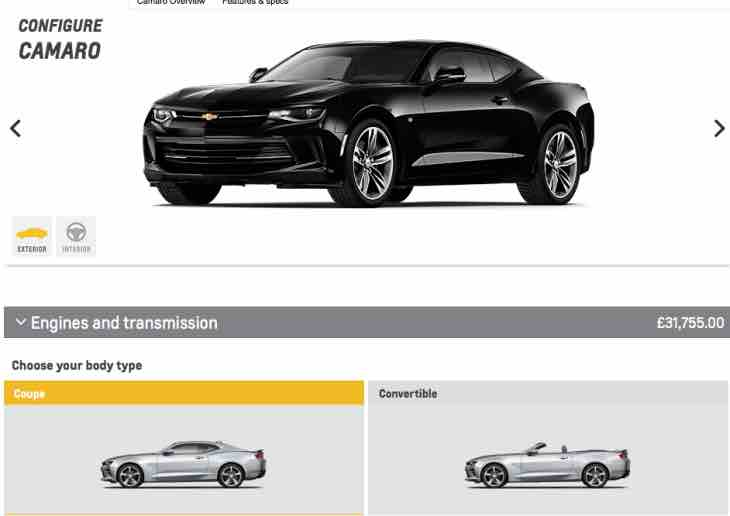 Chevrolet Camaro UK options
