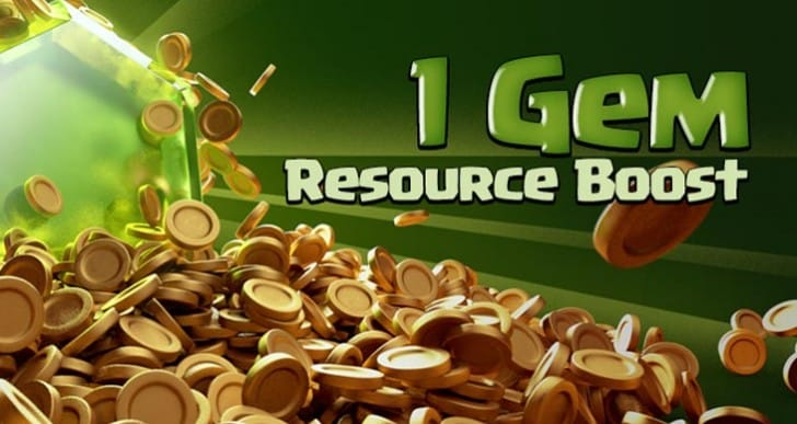 Clash of Clans 1 gem boost until Aug 7
