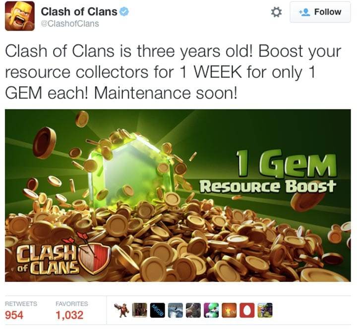 Clash-of-Clans-gem-boost-Maintenance