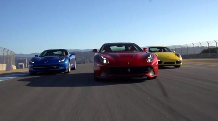 Corvette Stingray C7 vs. Ferrari F12 and Porsche 911