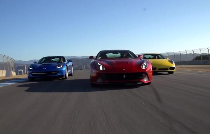 Corvette Stingray C7 vs. Ferrari F12 and Porsche 911