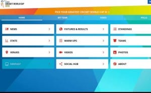 Cricket World Cup fixtures, results and standings via app