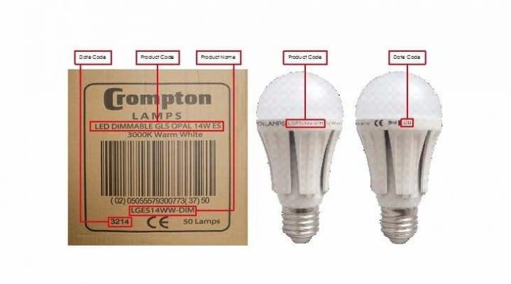 Crompton Lamps recalls ES-E27 light bulb model
