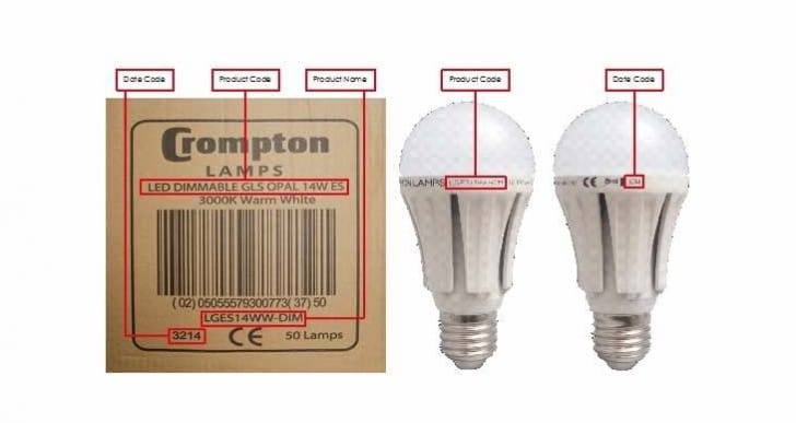 Crompton Lamps recalls ES-E27 light bulb model