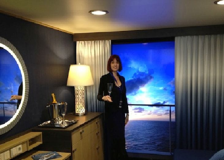 Royal caribbean cruise uses hdtv for virtual balcony view for Uses of balcony