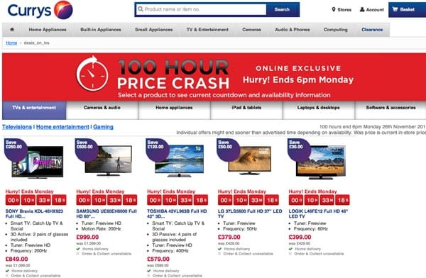 Currys UK offer Cyber Monday price crash