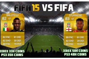 Daniel Sturridge vs Mario Balotelli FIFA 15 value