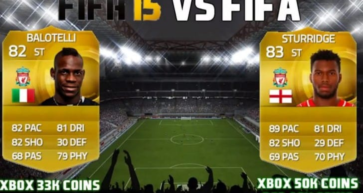 Daniel Sturridge vs Mario Balotelli FIFA 15 value