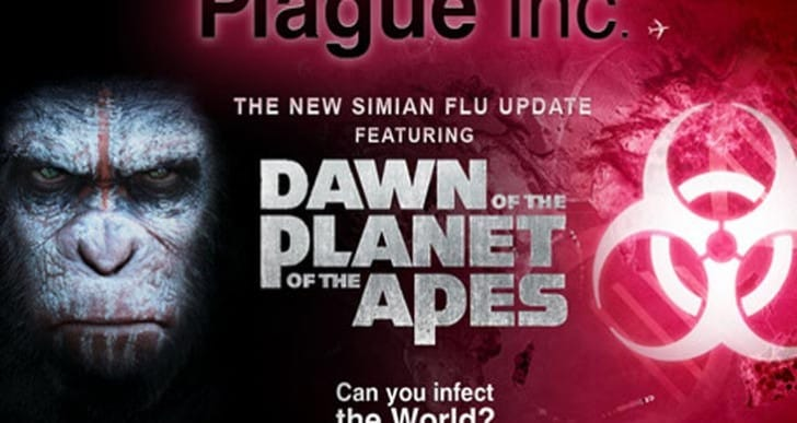 Dawn of the Planet of the Apes iOS game with Plague Inc.