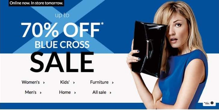 Debenhams Blue Cross Sale now live online, in store tomorrow