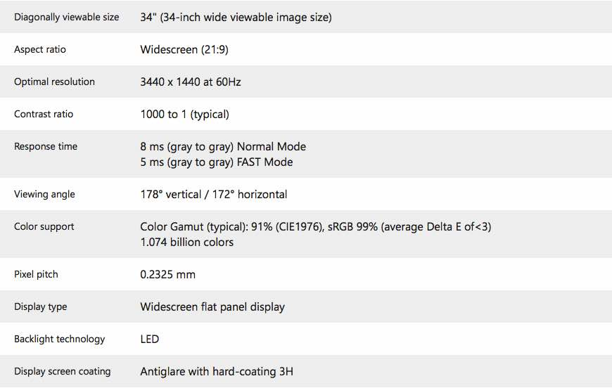 Dell U3415W UltraSharp 34 Curved Monitor specs