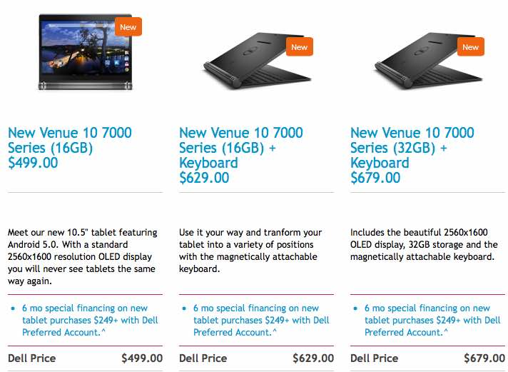 Dell Venue 10 7000 models