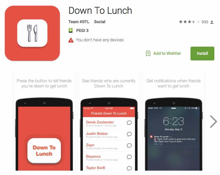 Down To lunch app update