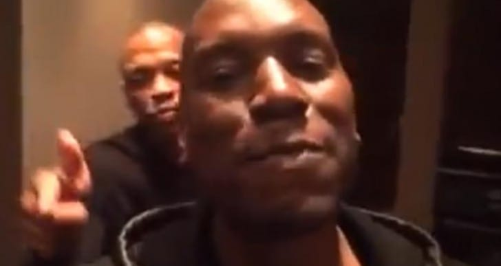 Dr. Dre in studio celebration video