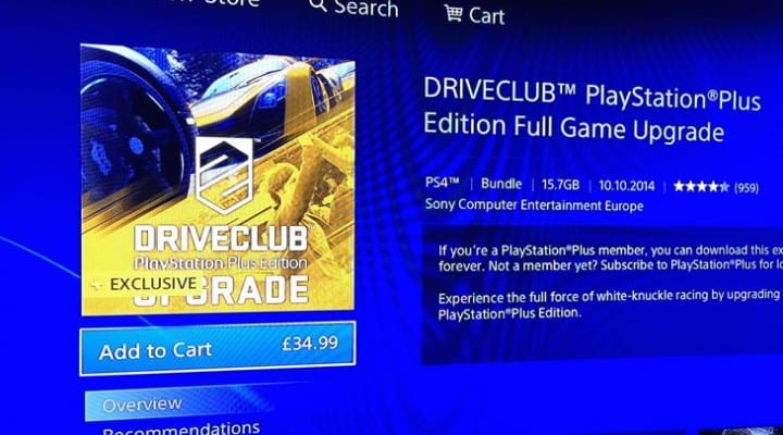 Driveclub PS Plus Edition full game upgrade price
