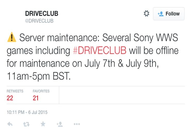 Driveclub-PS4-server-July-7-maintenance