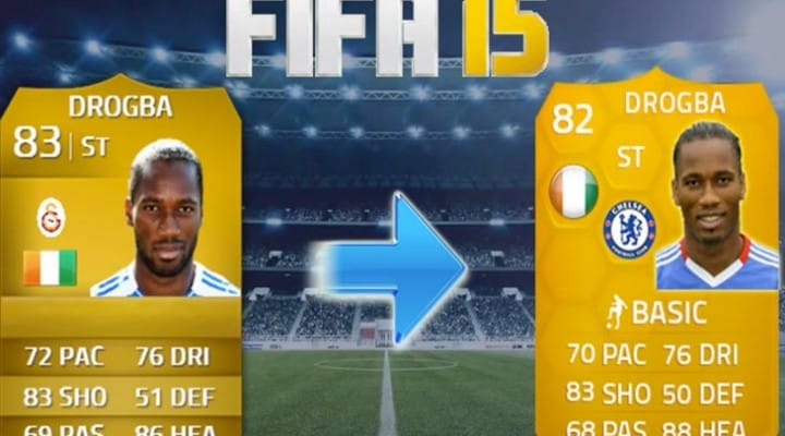 Drogba in Chelsea FIFA 14 transfer, 15 downgrade
