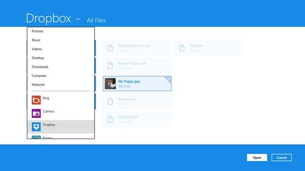 Dropbox app live for Windows 8