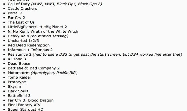 Dualshock 4 PS3 compatible list has limited functionality