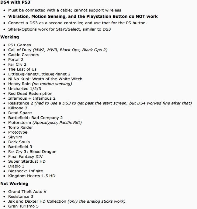Dualshock 4 PS3 compatible list