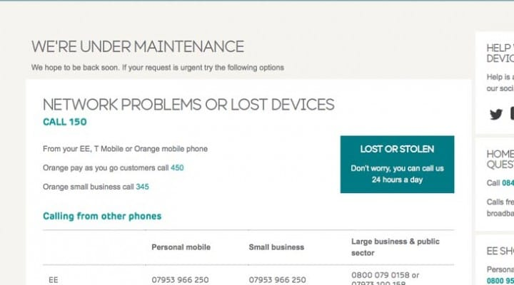 EE UK and T-Mobile.co.uk down for maintenance