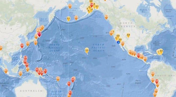 Earthquake news today on iPad map