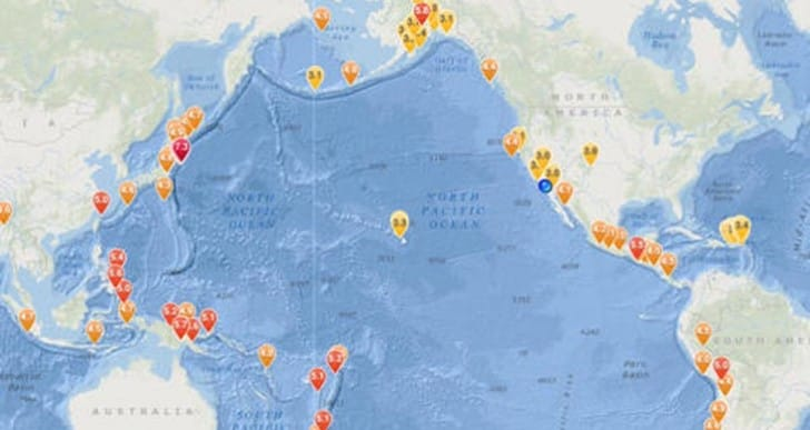 Earthquake news today on iPad map
