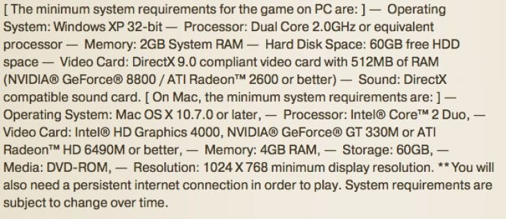 Elder Scrolls Online system requirements
