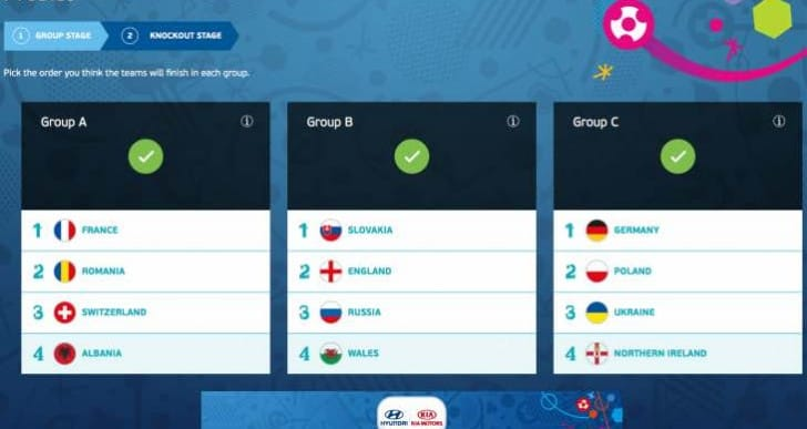 Euro 2016 bracket prediction maker by Hyundai