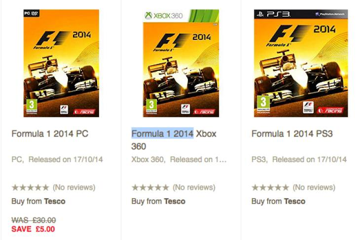 F1 2014 price at Asda, GAME and Tesco – Product Reviews Net