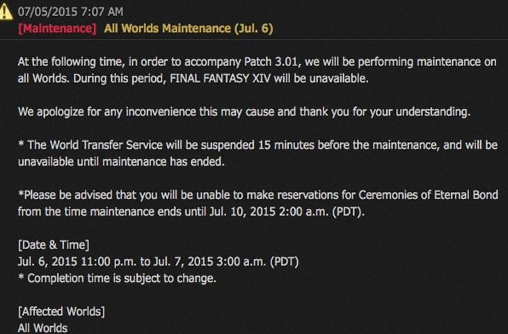 FFXIV-down-patch-maintenance-today