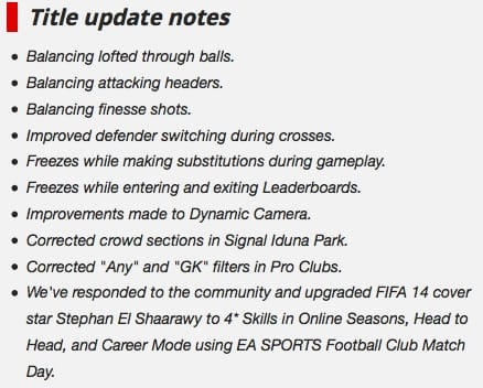 FIFA 14 patch live on Xbox 360