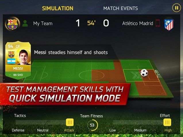 FIFA 15 app controls