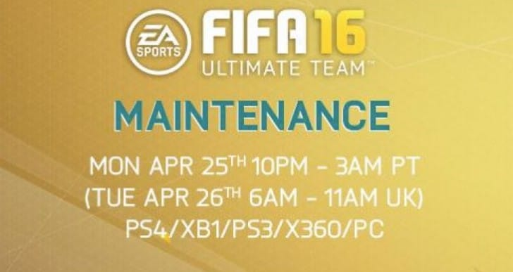 FIFA 16 April 26 server maintenance extended by EA