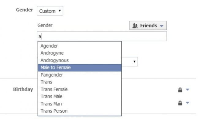 Facebook Gender options for advertising not expression