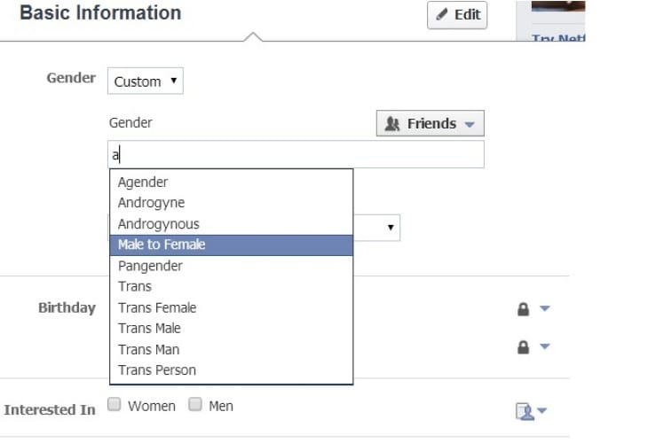Facebook Gender options for advertising and expression